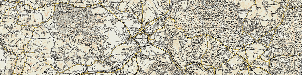 Old map of Wyesham in 1899-1900
