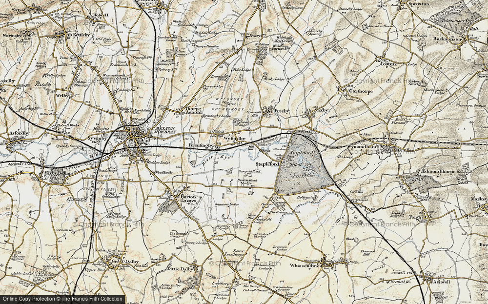 Old Map of Historic Map covering Laxton's Covert in 1901-1903