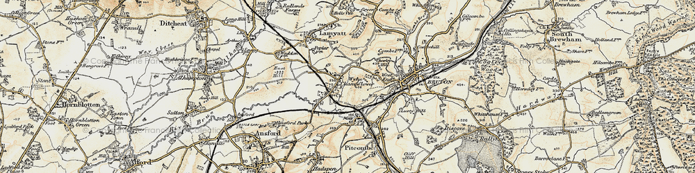 Old map of Wyke Champflower in 1899