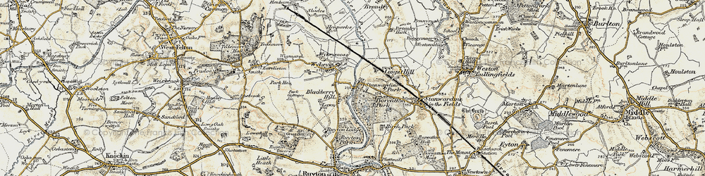 Old map of Wykey in 1902