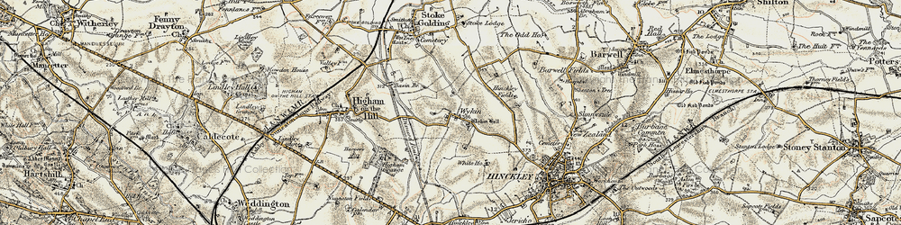 Old map of Wykin in 1901-1903