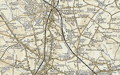 Old map of Wylde Green in 1901-1902