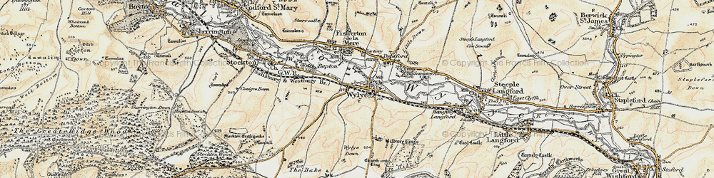 Old map of Wylye in 1897-1899