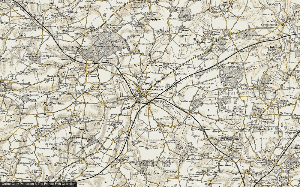 Old Map of Wymondham, 1901-1902 in 1901-1902