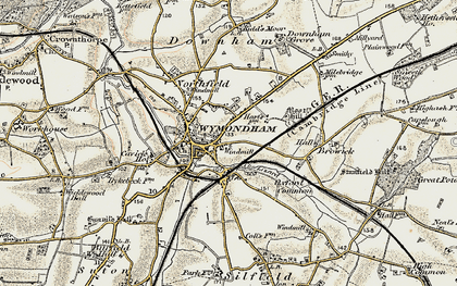 Old map of Wymondham in 1901-1902