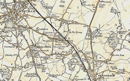 Old map of Wymondley Bury in 1898-1899