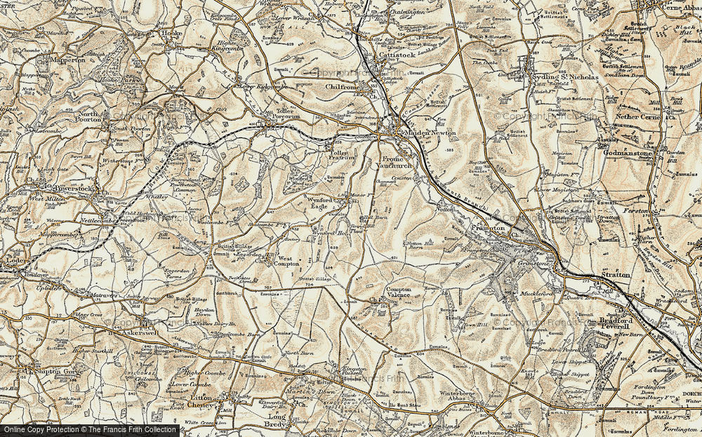 Old Map of Historic Map covering Wynford Ho in 1899