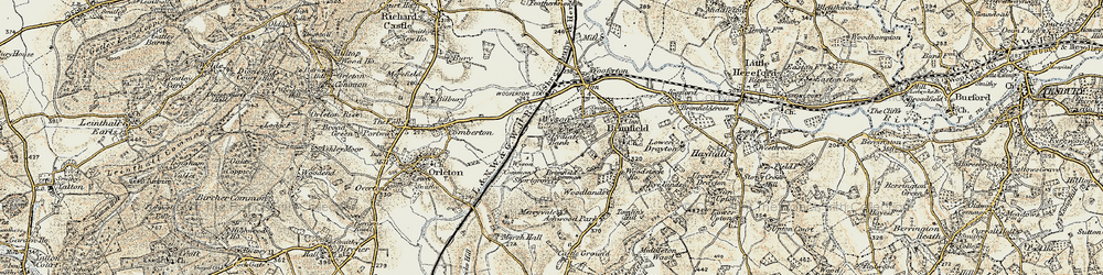 Old map of Wyson Common in 1901-1902