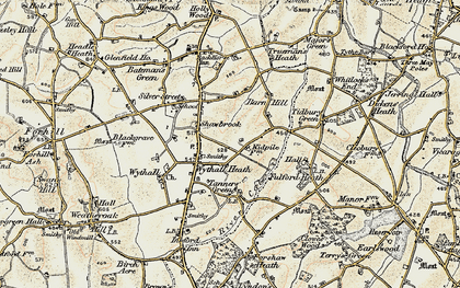 Old map of Wythall in 1901-1902