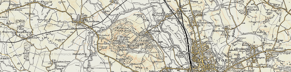 Old map of Wytham in 1898-1899
