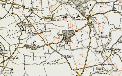 Old map of Wyton in 1903-1908