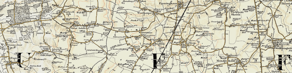 Old map of Wyverstone Green in 1901