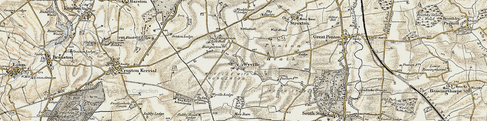 Old map of Wyville in 1902-1903