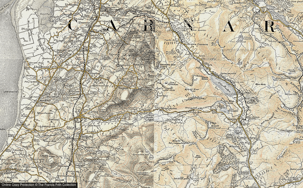 Old Map of Historic Map covering Afon Drws-y-coed in 1903-1910