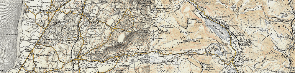 Old map of Afon Drws-y-coed in 1903-1910