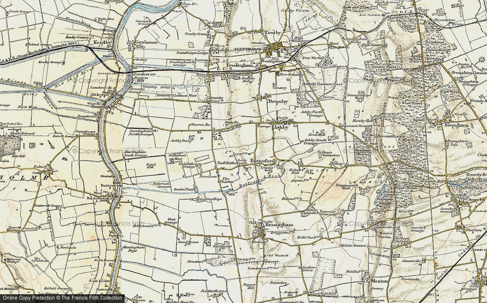 Old Map of Historic Map covering Ashby Decoy in 1903