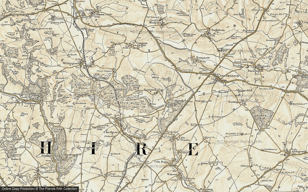 Old Map of Yanworth, 1898-1899 in 1898-1899