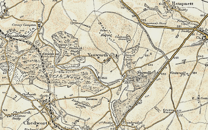 Old map of Yanworth in 1898-1899
