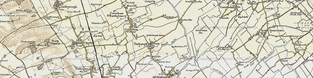 Old map of Yarburgh Grange in 1903