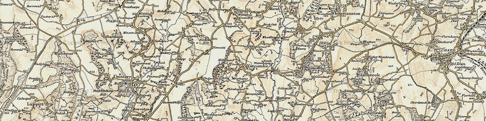 Old map of Yarcombe in 1898-1900