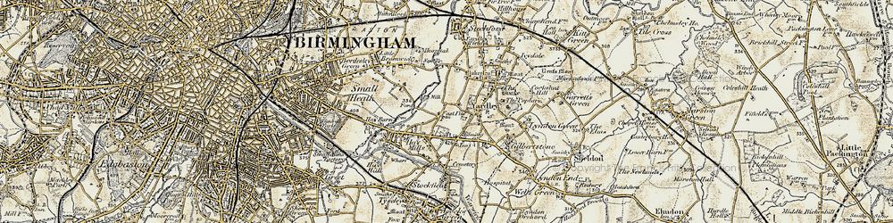 Old map of Yardley in 1901-1902