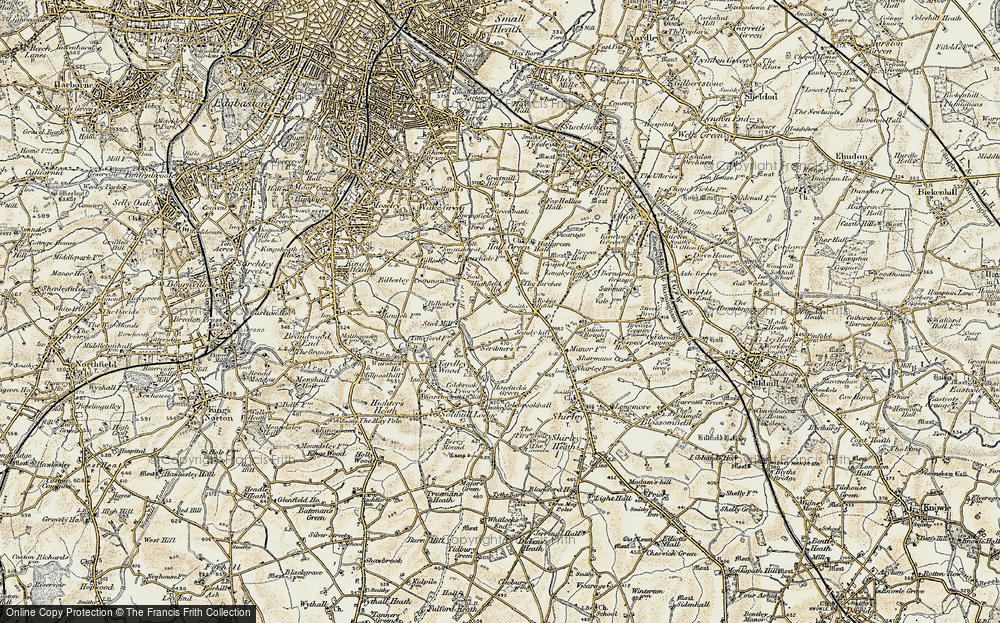 Old Map of Yardley Wood, 1901-1902 in 1901-1902