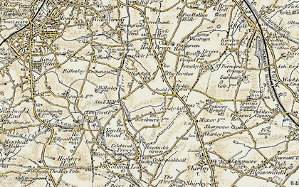 Old map of Yardley Wood in 1901-1902