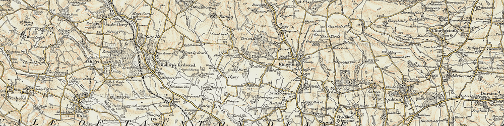 Old map of Yarford in 1898-1900