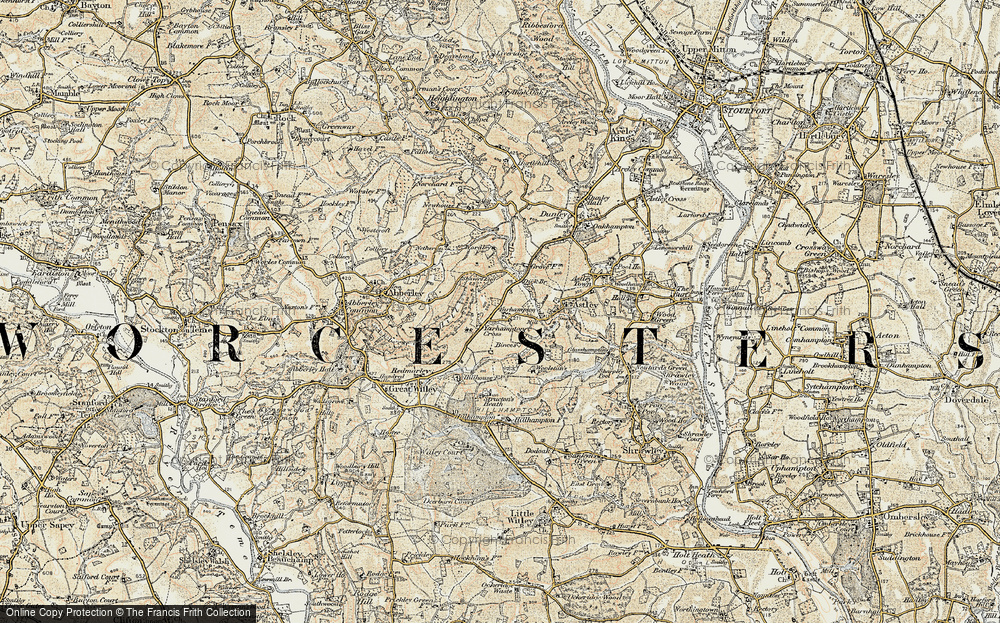 Old Map of Historic Map covering Abberley Hill in 1901-1902