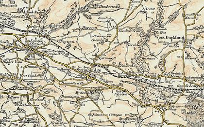 Old map of Yarnacott in 1900
