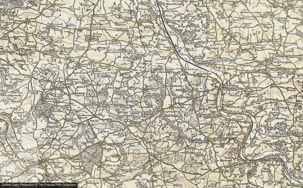 Old Map of Historic Map covering Langley Barton in 1899-1900