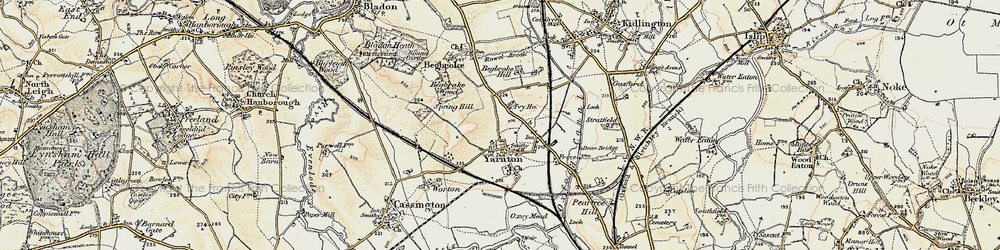 Old map of Yarnton in 1898-1899