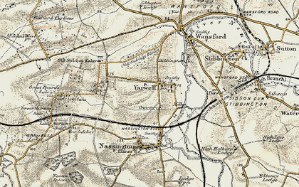 Old map of Yarwell Junction Sta in 1901-1903