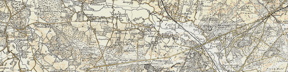 Old map of Yateley in 1897-1909