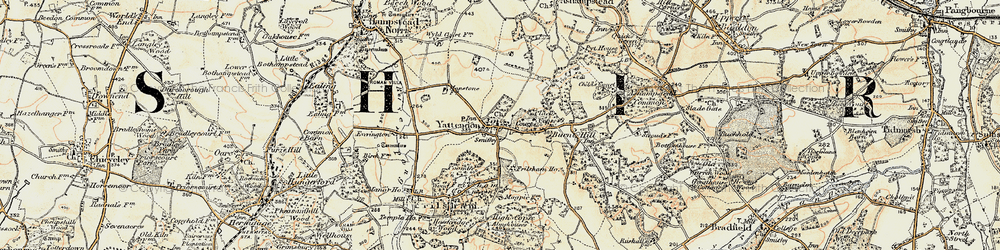 Old map of Yattendon in 1897-1900