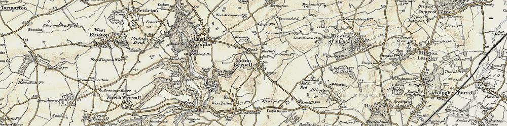 Old map of Yatton Keynell in 1898-1899
