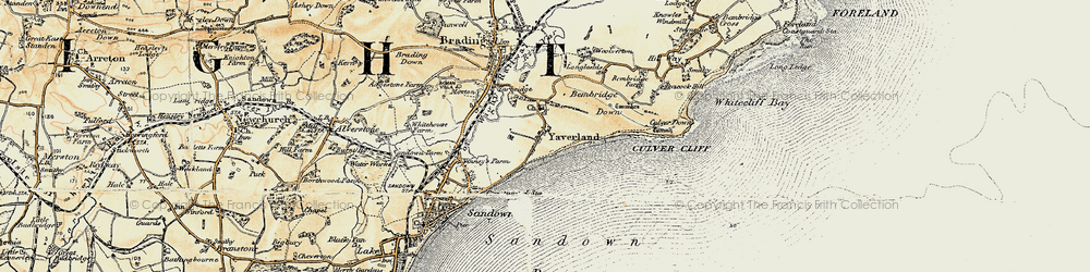 Old map of Yaverland in 1899