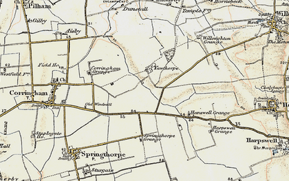Old map of Willoughton Grange in 1903