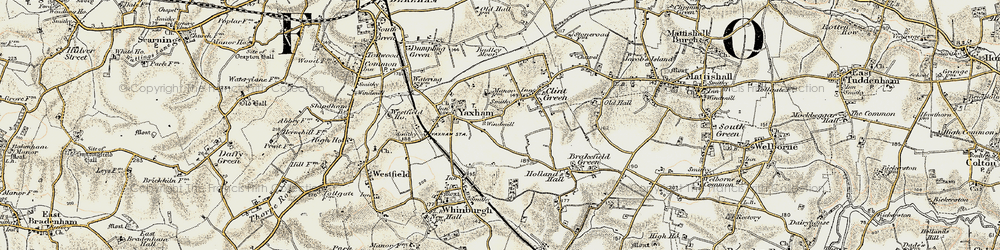 Old map of Yaxham in 1901-1902