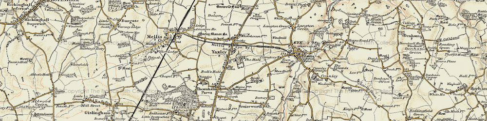 Old map of Yaxley in 1901