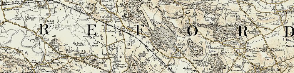 Old map of Yazor in 1900-1901