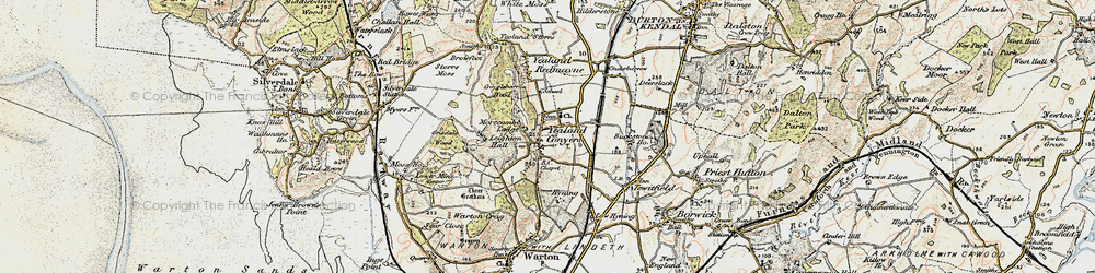 Old map of Leighton Hall in 1903-1904