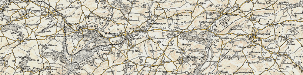 Old map of Yealmbridge in 1899-1900