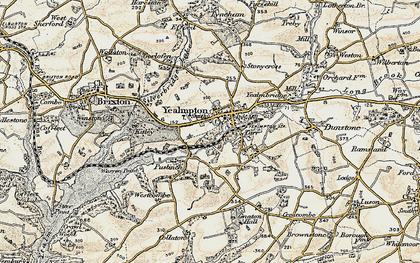 Old map of Wrescombe in 1899-1900