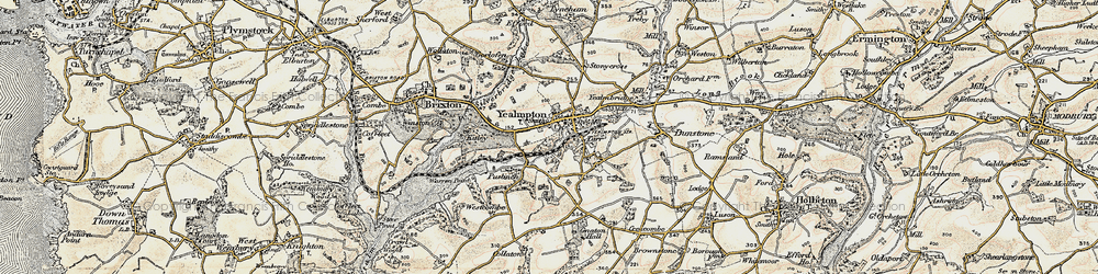 Old map of Yealmpton in 1899-1900