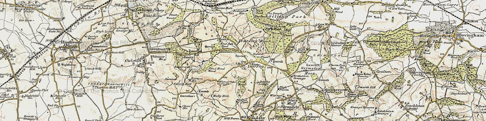 Old map of Yearsley Moor in 1903-1904