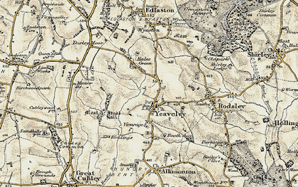Old map of Yeaveley in 1902