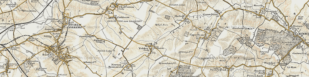 Old map of Yelden in 1901