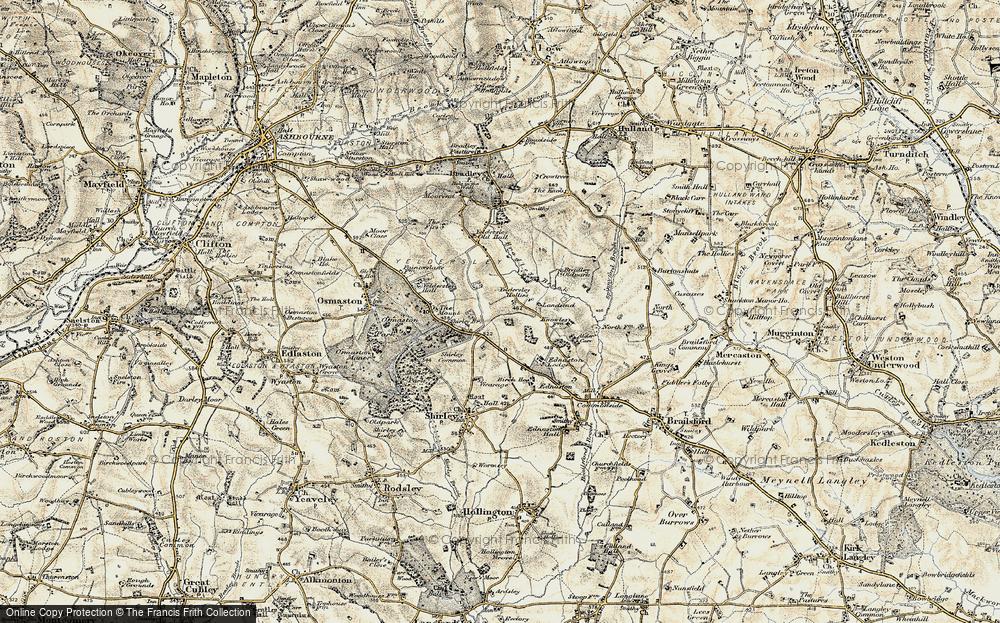 Old Map of Yeldersley Hollies, 1902 in 1902