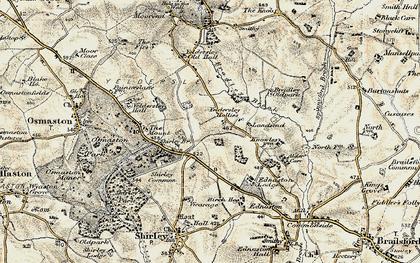 Old map of Yeldersley Hollies in 1902